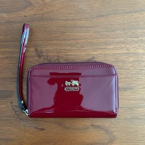 Authentic Coach Red Patent Leather Wristlet